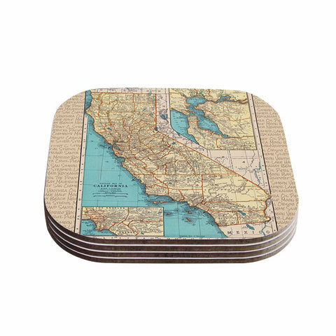 "Catherine Holcombe ""So Cal Surf Map"" Beige Blue Coasters (Set of 4) - Outlet Item"
