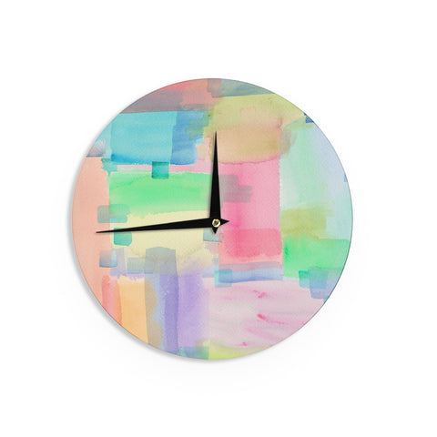 "Catherine Holcombe ""Watercolor Brushstrokes"" Modern Pink Wall Clock - KESS InHouse"
