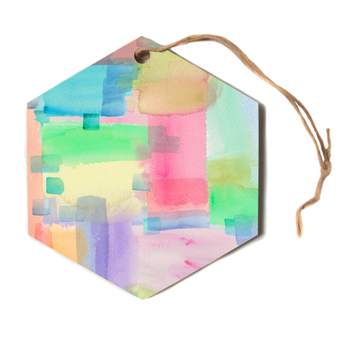 "Catherine Holcombe ""Watercolor Brushstrokes"" Modern Pink Hexagon Holiday Ornament"