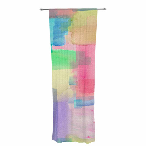 "Catherine Holcombe ""Watercolor Brushstrokes"" Modern Pink Decorative Sheer Curtain - KESS InHouse  - 1"