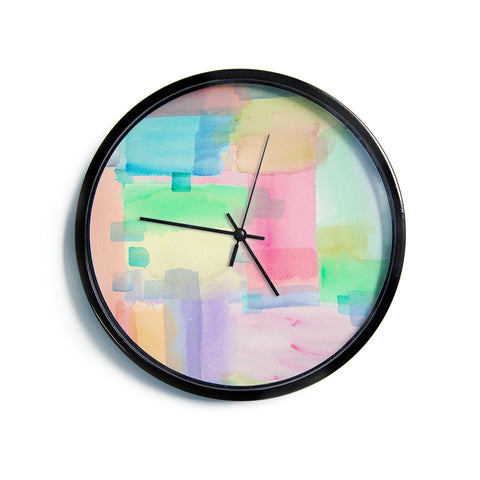 "Catherine Holcombe ""Watercolor Brushstrokes"" Modern Pink Modern Wall Clock"