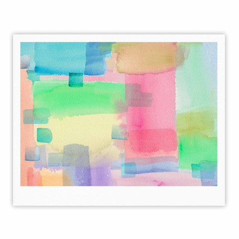 "Catherine Holcombe ""Watercolor Brushstrokes"" Modern Pink Fine Art Gallery Print - KESS InHouse"