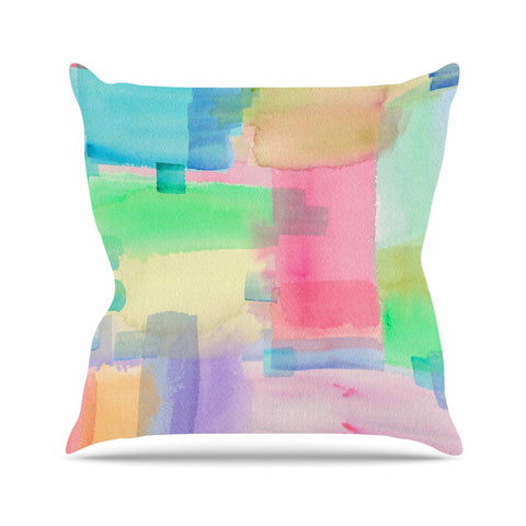 "Catherine Holcombe ""Watercolor Brushstrokes"" Modern Pink Outdoor Throw Pillow - KESS InHouse  - 1"