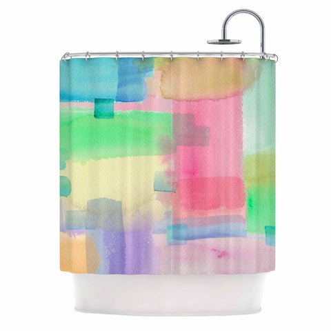 "Catherine Holcombe ""Watercolor Brushstrokes"" Modern Pink Shower Curtain - KESS InHouse"