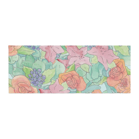"Catherine Holcombe ""Southwestern Floral "" Green Purple Bed Runner - KESS InHouse"