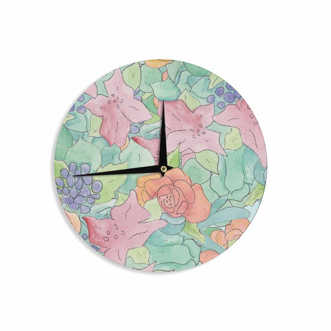 "Catherine Holcombe ""Southwestern Floral "" Green Purple Wall Clock - KESS InHouse"