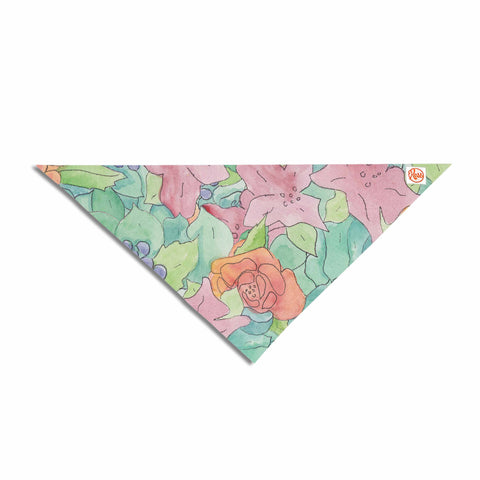 "Catherine Holcombe ""Southwestern Floral "" Green Purple Pet Bandana - KESS InHouse  - 1"