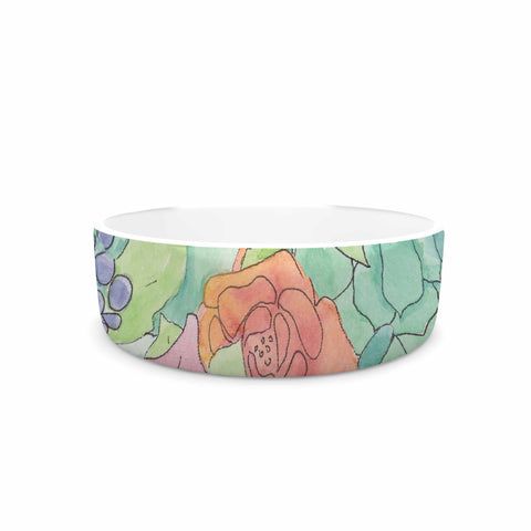 "Catherine Holcombe ""Southwestern Floral "" Green Purple Pet Bowl - KESS InHouse"