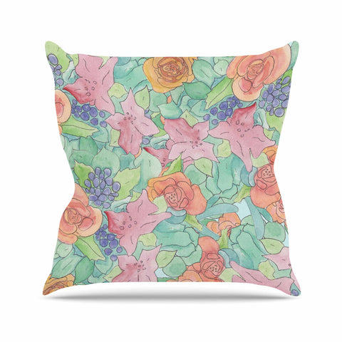 "Catherine Holcombe ""Southwestern Floral "" Green Purple Outdoor Throw Pillow - KESS InHouse  - 1"