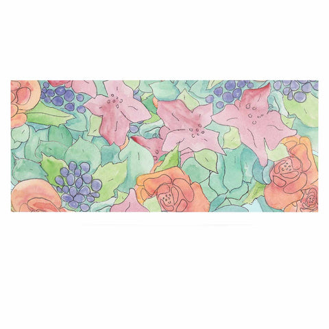 "Catherine Holcombe ""Southwestern Floral "" Green Purple Luxe Rectangle Panel - KESS InHouse  - 1"