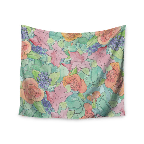 "Catherine Holcombe ""Southwestern Floral "" Green Purple Wall Tapestry - KESS InHouse  - 1"