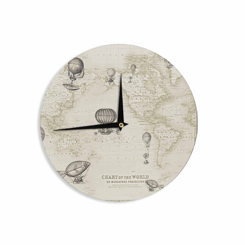 "Catherine Holcombe ""The Southern Route"" Brown White Wall Clock - KESS InHouse"