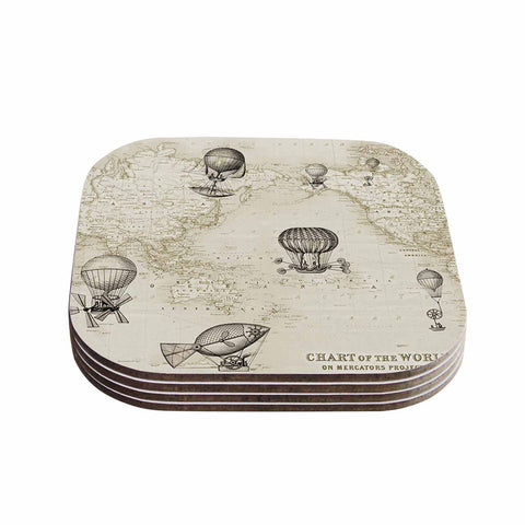 "Catherine Holcombe ""The Southern Route"" Brown White Coasters (Set of 4)"