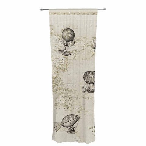 "Catherine Holcombe ""The Southern Route"" Brown White Decorative Sheer Curtain - KESS InHouse  - 1"