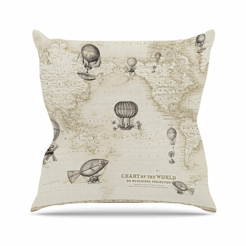 "Catherine Holcombe ""The Southern Route"" Brown White Outdoor Throw Pillow - KESS InHouse  - 1"