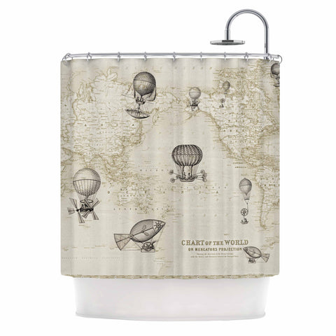"Catherine Holcombe ""The Southern Route"" Brown White Shower Curtain - KESS InHouse"