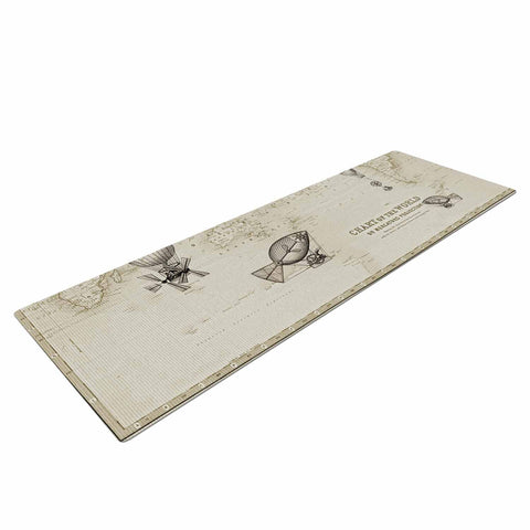 "Catherine Holcombe ""The Southern Route"" Brown White Yoga Mat - KESS InHouse  - 1"