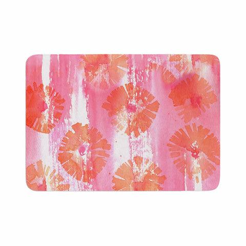 "Catherine Holcombe ""Poppin Poppies"" Pink Orange Painting Memory Foam Bath Mat"
