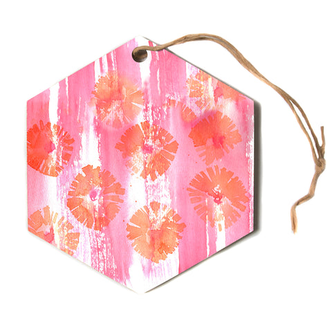 "Catherine Holcombe ""Poppin' Poppies"" Pink Orange Painting Hexagon Holiday Ornament"