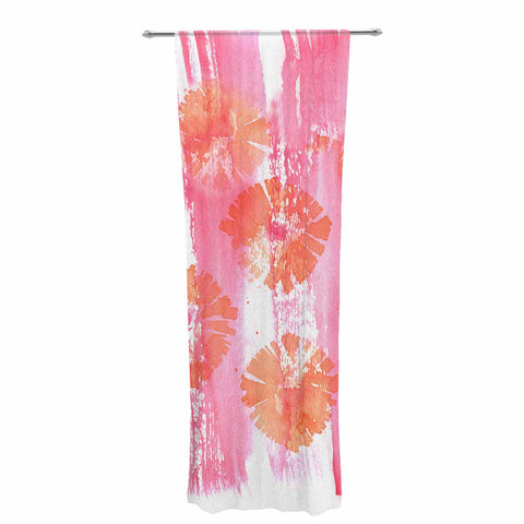 "Catherine Holcombe ""Poppin Poppies"" Pink Orange Painting Decorative Sheer Curtain"