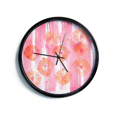 "Catherine Holcombe ""Poppin' Poppies"" Pink Orange Painting Modern Wall Clock"