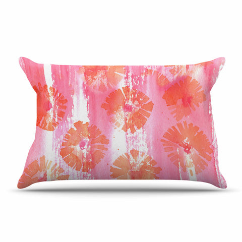 "Catherine Holcombe ""Poppin Poppies"" Pink Orange Painting Pillow Sham"