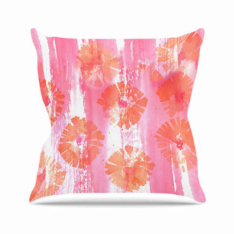 "Catherine Holcombe ""Poppin Poppies"" Pink Orange Painting Outdoor Throw Pillow"