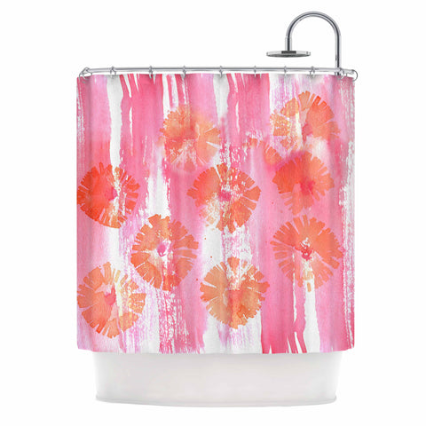 "Catherine Holcombe ""Poppin Poppies"" Pink Orange Painting Shower Curtain"