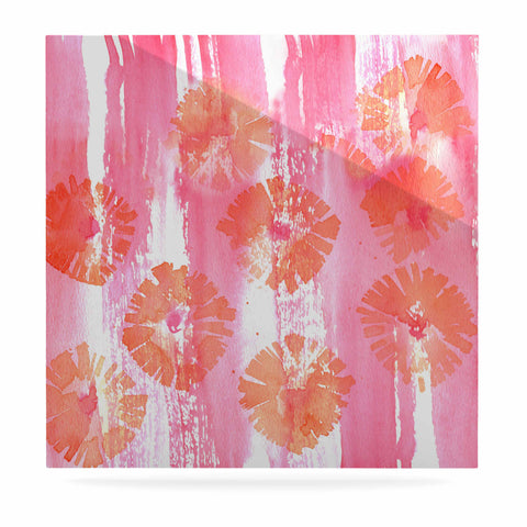 "Catherine Holcombe ""Poppin Poppies"" Pink Orange Painting Luxe Square Panel"