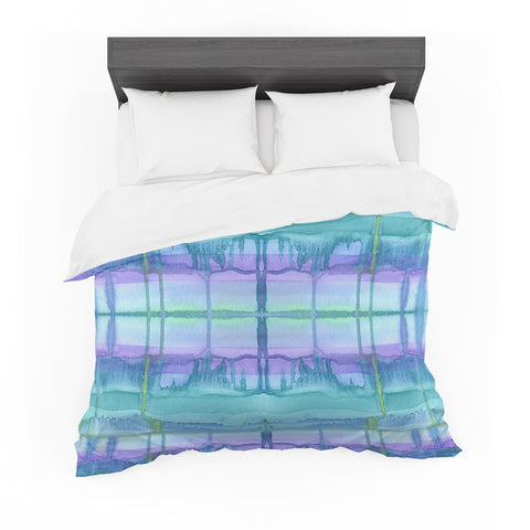 "Catherine Holcombe ""Ocean Zone"" Blue Purple Watercolor Featherweight Duvet Cover"