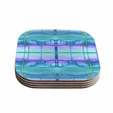 "Catherine Holcombe ""Ocean Zone"" Blue Purple Watercolor Coasters (Set of 4)"