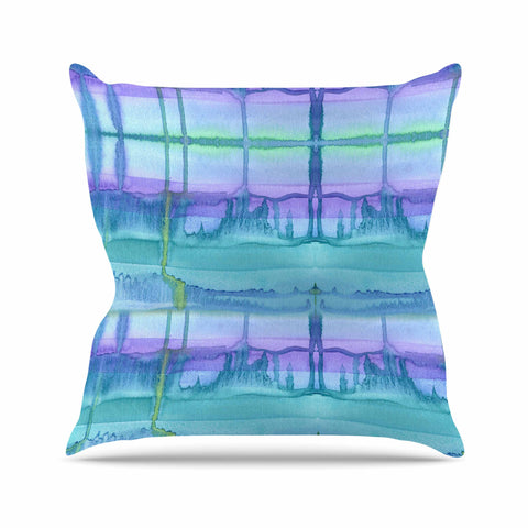 "Catherine Holcombe ""Ocean Zone"" Blue Purple Watercolor Outdoor Throw Pillow"