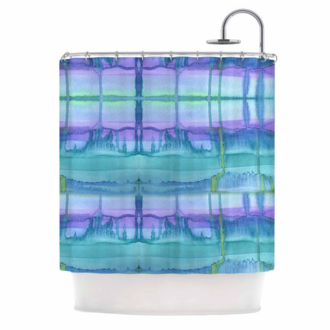 "Catherine Holcombe ""Ocean Zone"" Blue Purple Watercolor Shower Curtain"