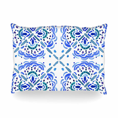 "Catherine Holcombe ""Amalifi Coast"" Blue White Painting Oblong Pillow"