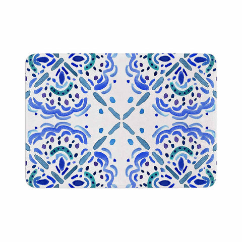 "Catherine Holcombe ""Amalifi Coast"" Blue White Painting Memory Foam Bath Mat"