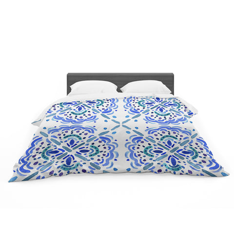 "Catherine Holcombe ""Amalifi Coast"" Blue White Painting Featherweight Duvet Cover"