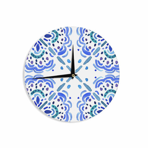 "Catherine Holcombe ""Amalifi Coast"" Blue White Painting Wall Clock"