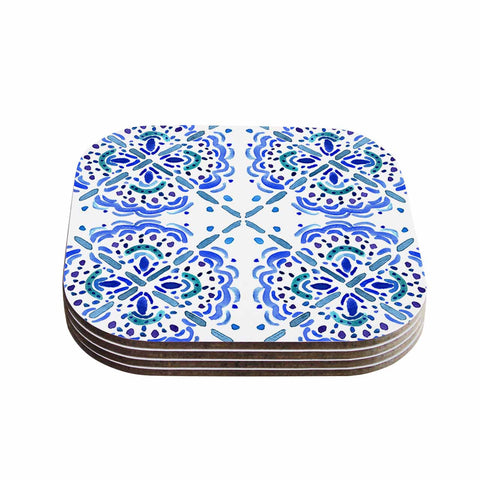 "Catherine Holcombe ""Amalifi Coast"" Blue White Painting Coasters (Set of 4)"