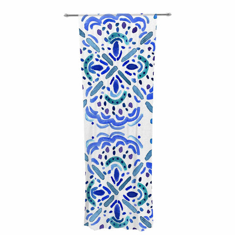 "Catherine Holcombe ""Amalifi Coast"" Blue White Painting Decorative Sheer Curtain"