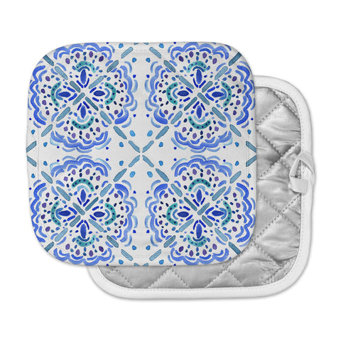 "Catherine Holcombe ""Amalifi Coast"" Blue White Painting Pot Holder"
