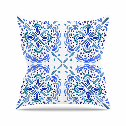 "Catherine Holcombe ""Amalifi Coast"" Blue White Painting Outdoor Throw Pillow"