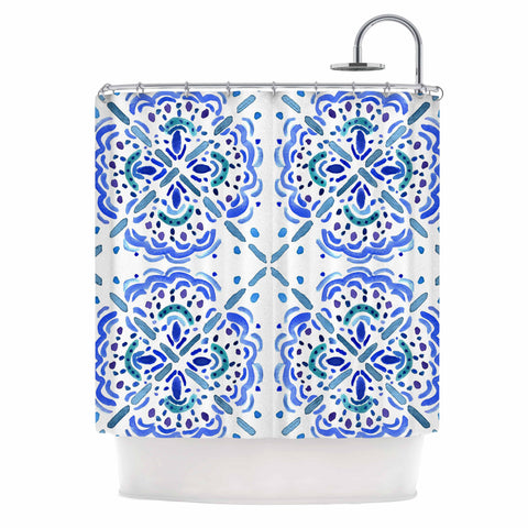 "Catherine Holcombe ""Amalifi Coast"" Blue White Painting Shower Curtain"