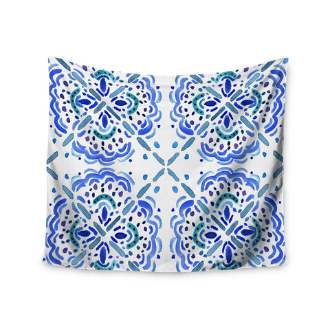 "Catherine Holcombe ""Amalifi Coast"" Blue White Painting Wall Tapestry"