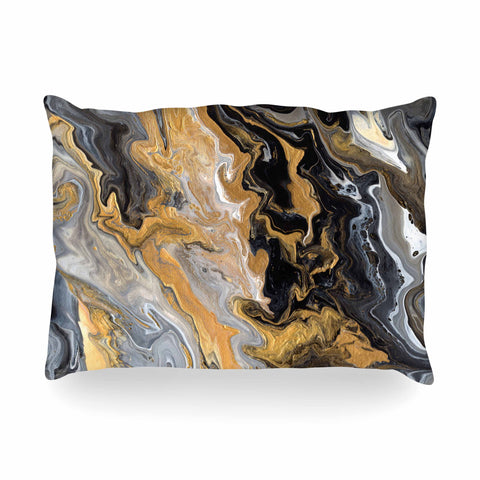"Catherine Holcombe ""Gold Vein Marble"" Black Gold Abstract Geological Painting Oblong Pillow"