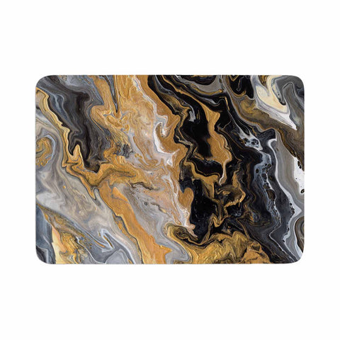 "Catherine Holcombe ""Gold Vein Marble"" Black Gold Abstract Geological Painting Memory Foam Bath Mat"