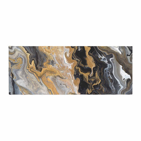 "Catherine Holcombe ""Gold Vein Marble"" Black Gold Abstract Geological Painting Bed Runner"