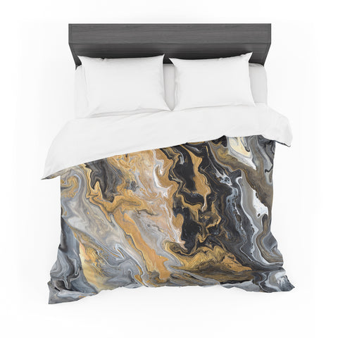 "Catherine Holcombe ""Gold Vein Marble"" Black Gold Abstract Geological Painting Featherweight Duvet Cover"