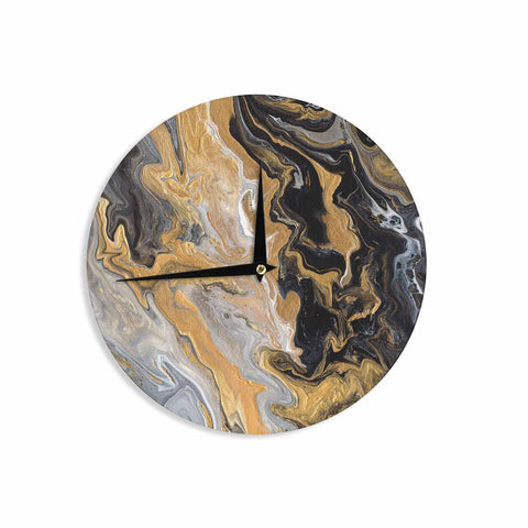 "Catherine Holcombe ""Gold Vein Marble"" Black Gold Abstract Geological Painting Wall Clock"