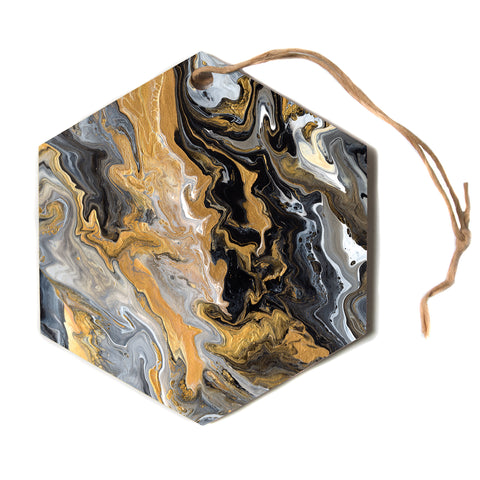 "Catherine Holcombe ""Gold Vein Marble"" Black Gold Abstract Geological Painting Hexagon Holiday Ornament"