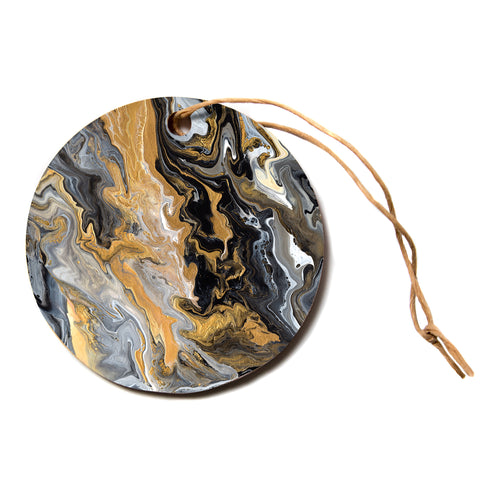 "Catherine Holcombe ""Gold Vein Marble"" Black Gold Abstract Geological Painting Circle Holiday Ornament"